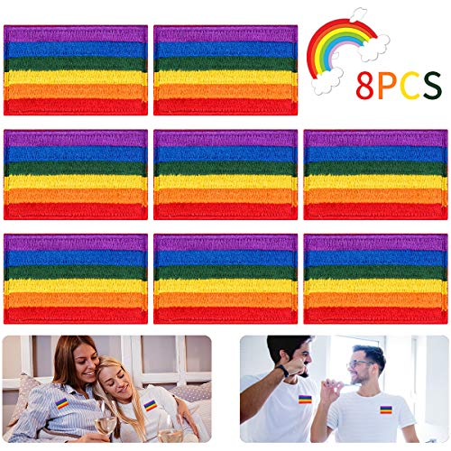 Alphatool 8pcs LGBT Pride Rainbow Flag Patch- Gay Pride Lesbian Embroidered Iron On/Sew On Appliques Patch Morale Emblem with Hook and Loop for Hat Cap Polo Backpack Clothing Jacket Shirt