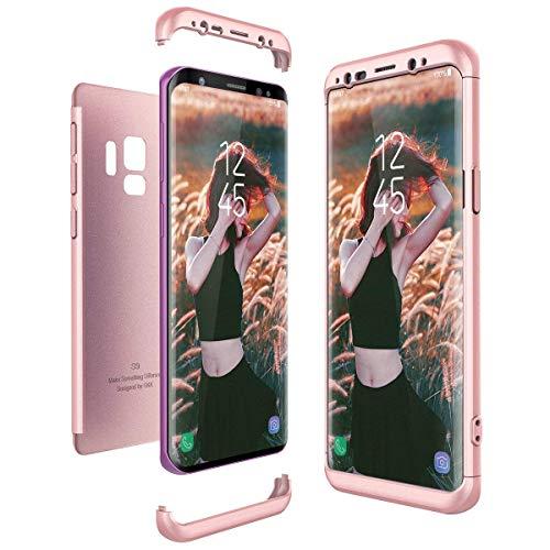 Funda para Samsung Galaxy A8 2018, 3 en 1, ultrafina, policarbonato, protección de 360 grados, con protección antigolpes para Galaxy A8 2018 Oro Rosa Talla única