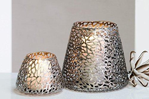 Casablanca - Windlicht/Kerzenständer - Purley - Metall - Farbe: antik-Silber - Ø 14 cm