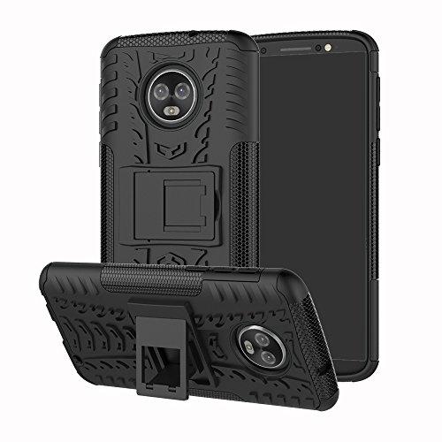 Capa para Moto G6 Plus, UZER à prova de choque, híbrida, camada dupla, de borracha robusta, híbrida, dura e macia, proteção contra impactos, capa protetora de corpo inteiro com suporte para Motorola Moto G6 Plus 2018