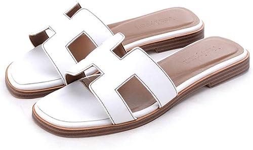 SPONSOKT Sandales Femme Pantoufles H éTé Femme VéRitable Sandales à Fond Plat Portent Un Mot Glisser Nouveau femmes blanc   39
