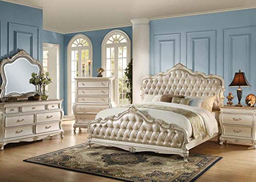 Best Deals! Esofastore Luxury Vintage White Tufted HB/FB Queen Size 4pc Bedroom Furniture Set