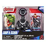 Marvel Avengers Black Panther 4 Piece Soap & Scrub. Shampoo, Body Wash, Bath Scrubby & Hook. Avenging Apple Scented.