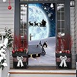3D Christmas Door Decal Sticker-Christmas Door Stickers Decor Door Wall Mural Wallpaper Removable Door Cover Decoration Vinyl Wall Stickers for Door