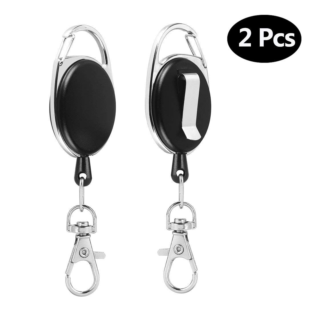 Black Heavy Duty Badge Reel Keychain Reel with 25 Inches Steel Wire Rope Aokebeey Retractable Key Chain