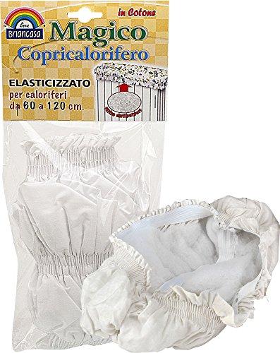 Briancasa Magico Copricalorifero Elasticizzato, per caloriferi da 60 a 120 cm, Tela, Bianco, 60-120 cm