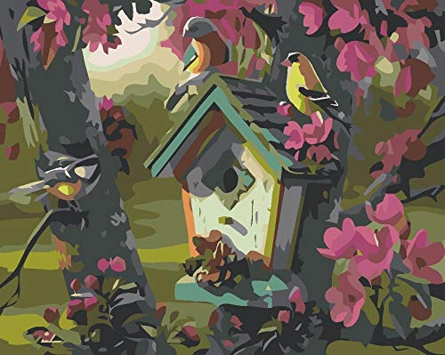 Abstract vogelhuisje Frameloos digitaal olieverfschilderij voor volwassenen, digitaal olieverfschilderij voor kinderen 40 * 50cm