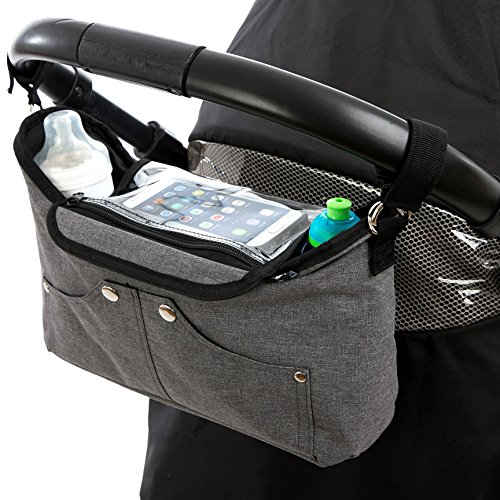 BTR Kinderwagen Organizer Tasche & Smartphone-Halter, Buggy Organizer mit klappbarer Handy-Tasche & 2 Kinderwagen Clips. Grau