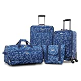 American Tourister Fieldbrook XLT Softside Upright Luggage, Blue Floral, 4-Piece Set (BB/DF/21/25)