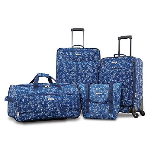 American Tourister Fieldbrook XLT Softside Upright Luggage, Blue Floral, 4-Piece Set (BB/DF/21/25)