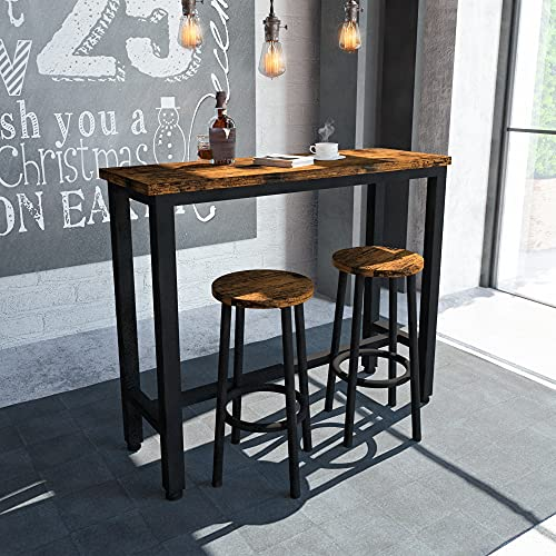 HOOSENG Bar Table Set-3PCS Round Kitchen Counter-DiningTable with 2 Stools, for Home-Farmhouse-Restaurant-Cafe-Kitchen-Dining, Artificial Wood Top & Sturdy Steel Frame, Rustic Brown (39