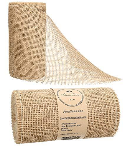 AmaCasa Eco Tischläufer Jute 30cm breit, 10m Rolle | gestärkter Jutestreifen mit kompostierbarem Etikett | Tischband für wundervolle Dekorationen in vielen Farben (Natur - Braun, 20cm/10m)
