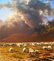 ナンバーキットによるDIY充填オイルキャンバスペイントブラシとアクリル顔料を使用した羊ラム雌羊子羊大人のためのDIYキャンバスペイント初心者
