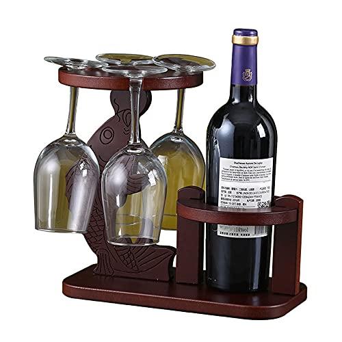 Botelleros Vino con Soporte de Vidrio Madera Vertical Design Decorativos Mueble Vinoteca Botellas de Vino Estante para Armario Salon Bar - Rojo Marrón