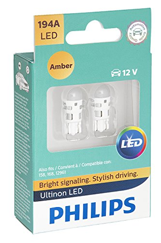 PHILIPS 194ALED 194 Ultinon LED Bulb (Amber), 2 Pack