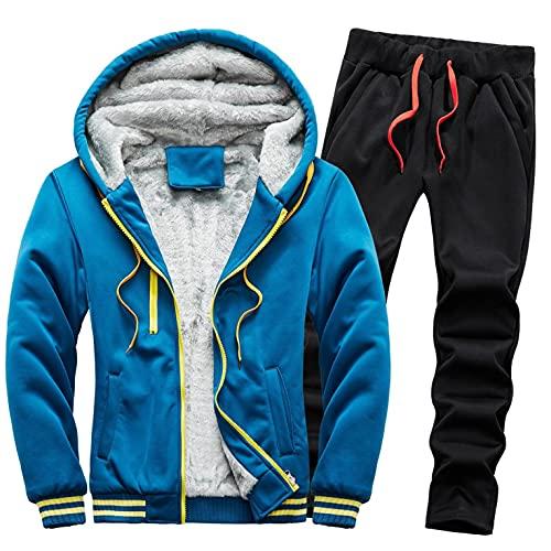 URIBAKY - Disfraz para hombre, color liso, deportivo, talla grande, chaqueta de abrigo de terciopelo, gruesa, más gruesa, para actividades de ocio, para ir al aire libre., azul, XL