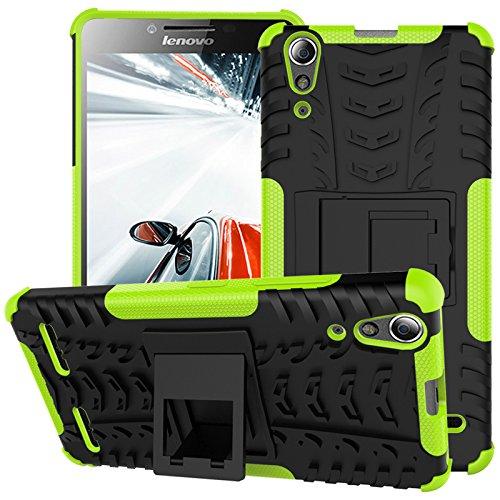 TiHen Handyhülle für Lenovo K3/A6000 Hülle, 360 Grad Ganzkörper Schutzhülle + Panzerglas Schutzfolie 2 Stück Stoßfest zhülle Handys Tasche Bumper Hülle Cover Skin mit Ständer -Grün