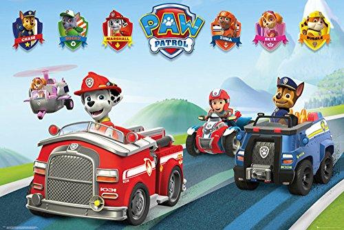 Paw Patrol - Vehicles Fahrzeuge - Tiere Kinder Fernseh TV Serie Poster Plakat Druck - Grösse 91,5x61 cm