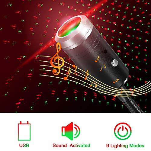 USB Auto Dachbeleuchtung, Sprachsteuerung Indoor Star Projector Nachtlicht für Auto, Schlafzimmer, Party, Decke und mehr - Plug and Play (Rot&Grün)