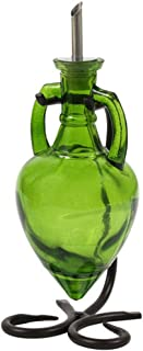 Kitchen Olive Oil Dispenser, Dish Soap Bottle or Oil Container G45F Lime Green Amphora Style Glass Bottle. Glass Bottle wi...