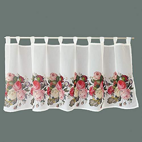 Visillo para cocina, cortina de panel, tela opaca estampada con rosas rojas y rosas sobre fondo blanco (60 x 150 cm)