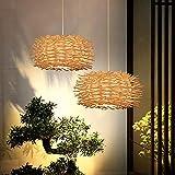 LIUDADA Creativa lámpara colgante de mimbre de madera trenzada, vintage, lámpara de techo retro de ratán, casquillo E27, para salón, comedor, cocina, pasillo, 30 × 18 cm