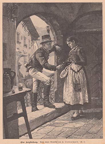 Post/Postbote - Eine Herzstärkung. Postillion läßt sich von einer jungen Kellnerin einen Schnaps einschänken. [Grafik]