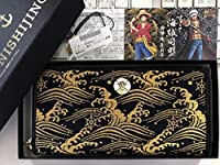 ONE PIECE ワンピース 西陣織 コラボ ルフィ ラウンドジップ ウォレット ゴールド ブラック 限定 箱付 麦わらの一味 財布