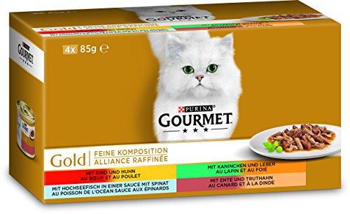 PURINA GOURMET Gold Feine Komposition Katzenfutter nass, Sorten-Mix, 12er Pack (12 x 4 Dosen à 85g)