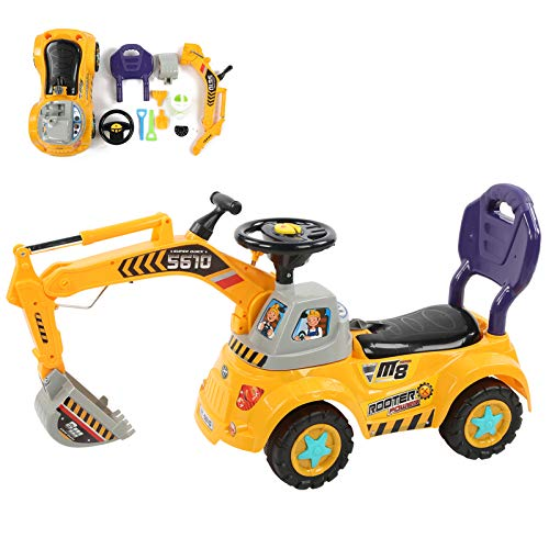 Zerodis Engineering Truck Model Toy, Electric Digger Scooter Ride on Tractor Toy Children Excavator Car Toy with Sound Effect for Kids Above 3 Years Old(Amarillo)
