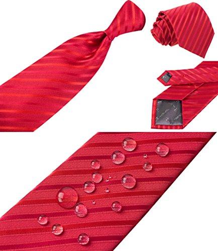 S.R HOME Rayures Rouges Ensemble Cravate étanche d'homme, Mouchoir, épingle et boutons de manchette coffret cadeau