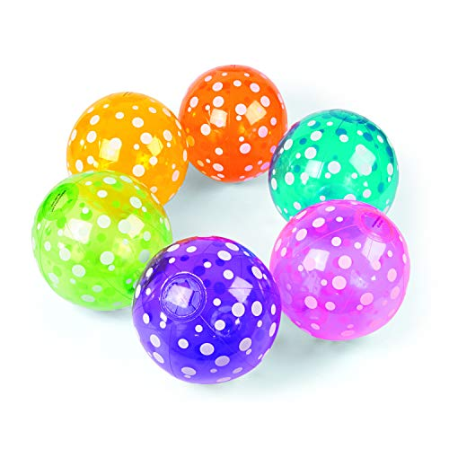 Fun Express Inflatable Polka-Dot Beach Balls (1 Dozen) in 6 Colors, Pool Party, Summer Water Fun and Birthday Parties, Bulk Pack for Adults and Children