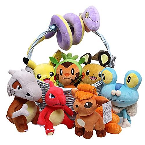 7Pcs / Pokemon Kindergeschenke Pikachu Serie 7 Stile Plüschtierpuppe 25Cm, Taschenmonster Elf Pikachu Wartortle Dedenne Chespin Vulpix Ekans Weiches Stofftier Kindergeschenk