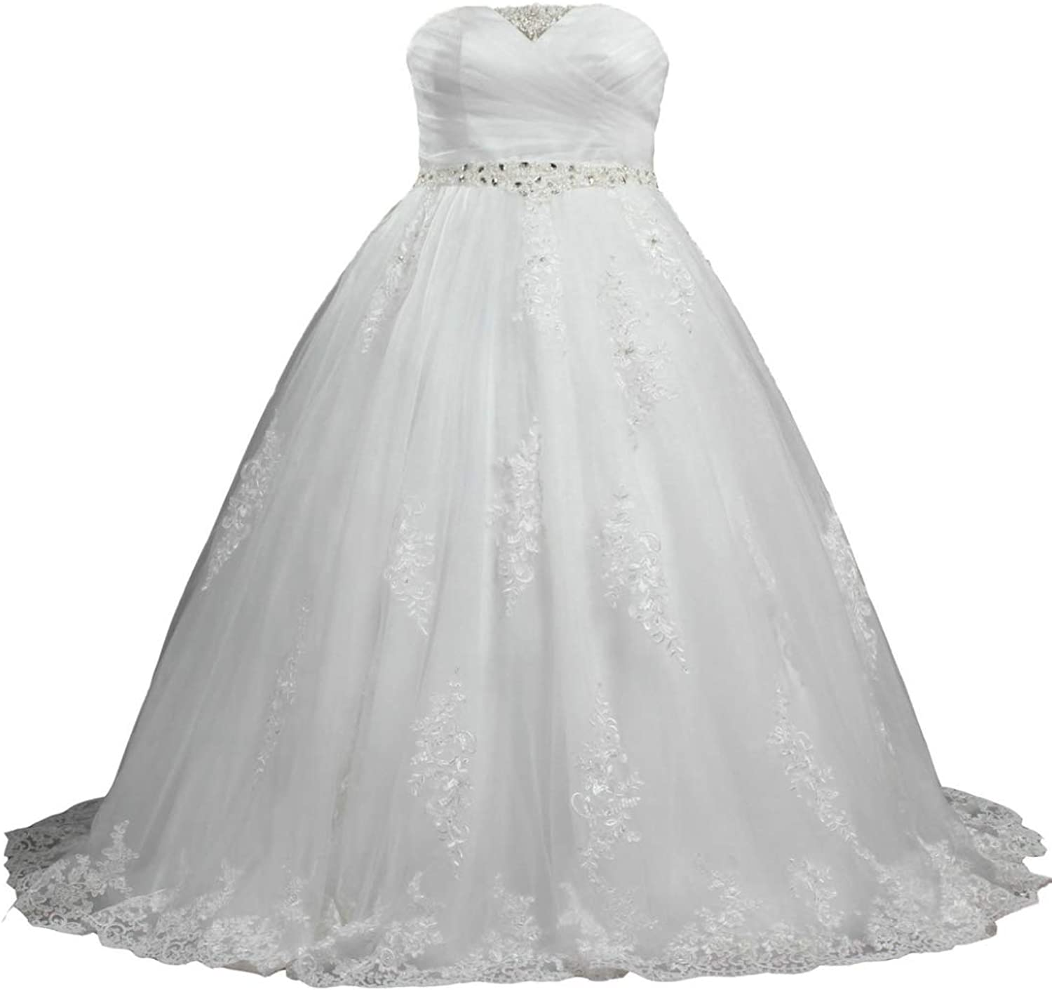 ANTS Women's Plus Size Strapless Lace Tulle Wedding Dresses Bridal Gowns