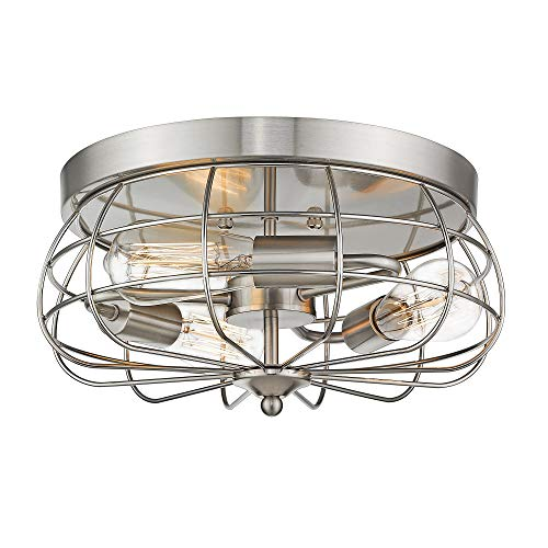 JAZAVA Metal Cage Flush Mount Ceiling Light Fixture, Brushed Nickel Finish Close to Ceiling Light Fixture, 3-Light Farmhouse Ceiling Lights, Dia 14.5 inches in Round