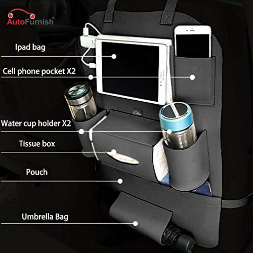 Autofurnish PU Leather 3D Car Back Seat Multi Pocket Storage Organizer Holder (Black)