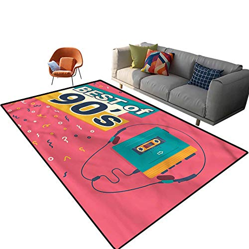 Indoor Room 90s Area Rugs,4'x 6',Best of 90s Cassette Player Floor Rectangle Rug with Non Slip Backing for Entryway Living Room Bedroom Kids Nursery Sofa Home Decor