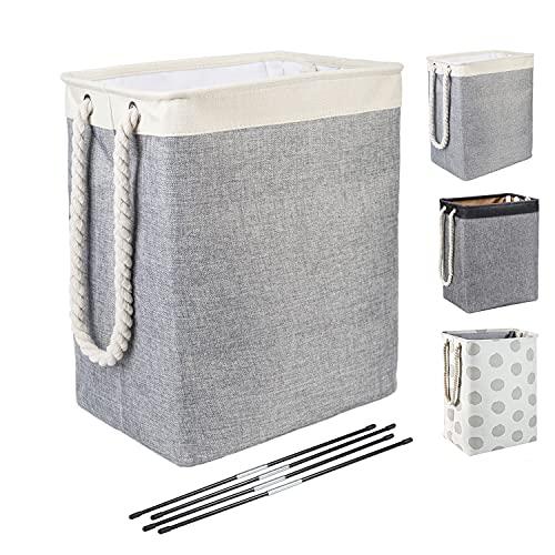 BrilliantJo tvättkorgar, hopfällbar tvättkorg med handtag, tvättkorg lämplig för sovrum tvättstuga, badrum grå/beige, 50 x 42 x 31 cm, 65 l - beige + grå