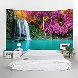 ACUOHU Tapisserie Moderne Rote Blume Wasserfall Wandbehang Mandala Hippie Indische Wandteppiche 3D-Druck Strand Werfen 260 (H) X 300 (B) cm
