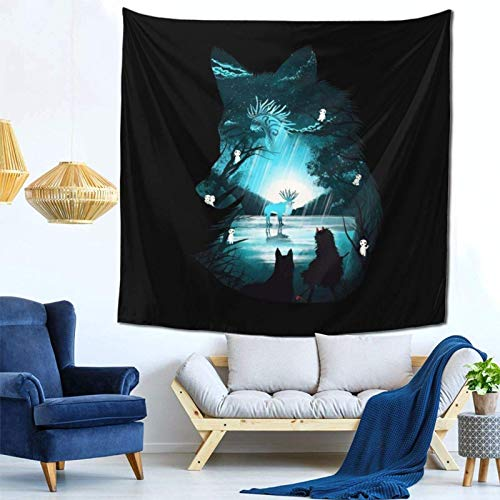 milkcolor Princess Mononoke Wolf Kodama Forest Wall Hanging Tapestry for Living Room and Bedroom Spreads Good Vibes 59×59 Inches