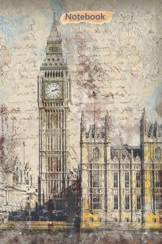 Notebook: London Digital Mixed Media Art Cover | Composition Books | Wide Ruled Line Paper | 120 Pages | Softcover