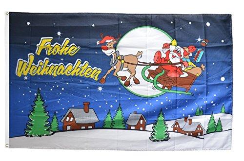 Flaggenfritze® Flagge Frohe Weihnachten Rentier und Weihnachtsmann - 90 x 150 cm