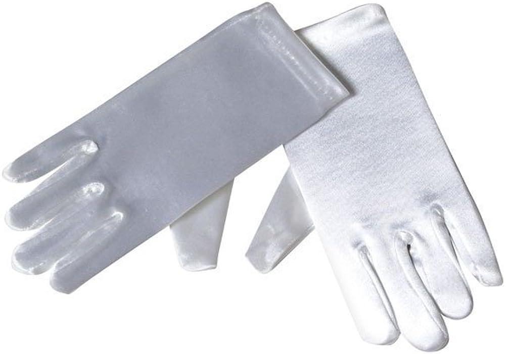 Girls Gloves - Girls Short Satin Gloves - Bridal - Flower Girl or Pageants (8 - 12, White)
