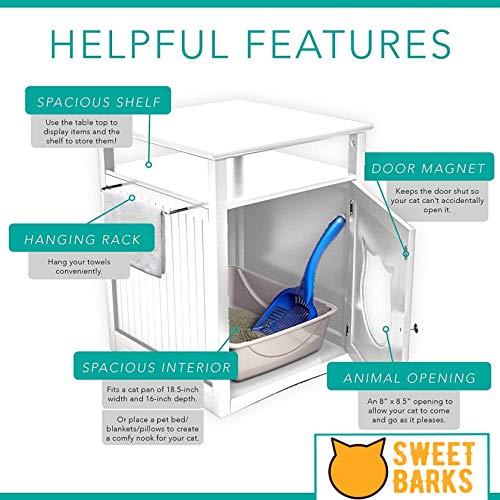 Sweet Barks Nightstand Pet House, Litter Box Furniture Indoor Pet Crate, Litter Box Enclosure, Cat Washroom (Black)