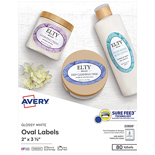 Avery Printable Blank Oval Labels, 2' x 3-1/3', Glossy White, 80 Customizable Labels (22820)