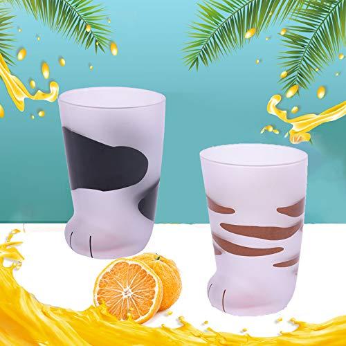 Taza de cristal esmerilado con forma de garra de gato, taza de cristal esmerilado, pata de gato, café para niños, vaso de cristal de leche con personalidad, desayuno