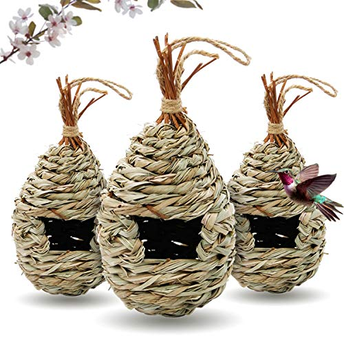 kathson Hummingbird House Outside Grass Hanging Bird Nest Hand Woven Finch Hut Birdhouses for Outdoor Natural Canary Roosting Pocket Hideaway Shelter for Chickadee Resting 3 Pack