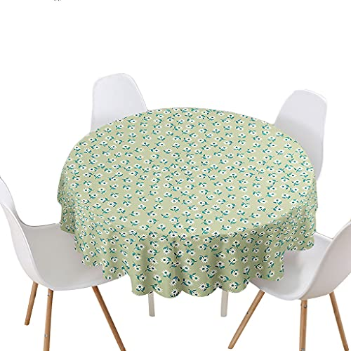 Highdi Impermeable Mantel de Redondo, Antimanchas Lavable Manteles Moderno Decoración para Salón, Cocina, Comedor, Mesa, Interior y Exterior (Margarita,120cm)