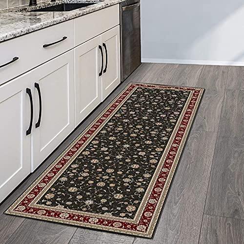 QIANGZI Alfombra de pasillo antideslizante por metros, de poliéster negro, no se decolora, para cocina, para dormitorio, pasillo y pasillo (tamaño: 80 x 150 cm, color: uno)