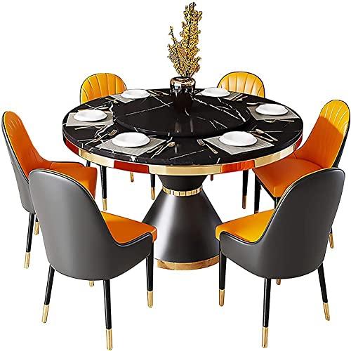 HHII negro-120x76cmnullMesa de comedor, mesa redonda de mármol con tocadiscos, mesa de comedor de gama alta, resistente a los arañazos y al desgaste, muebles de comedor, sin sillas, negro